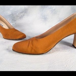 Pancaldi Fabric Light Brown Chunky Heel Pump 8.5M